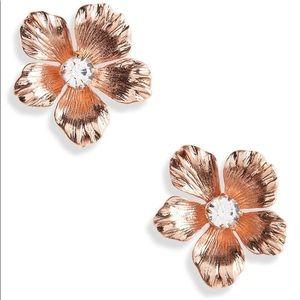 J Crew NWT Pansy Rose Gold Flower Earrings